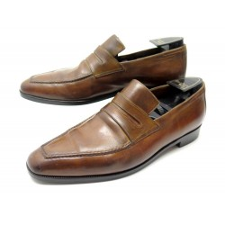 CHAUSSURES BERLUTI ANDY 8.5 42.5 MOCASSINS CUIR MARRON EMBAUCHOIRS LOAFERS 1750€