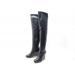 NEUF CHAUSSURES CHANEL G31303 41.5 BOTTES CUISSARDES COMPENSEES CUIR NOIR 1500€
