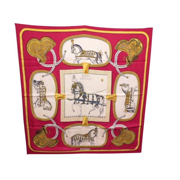FOULARD HERMES GRAND APPARAT JACQUES EUDEL CARRE ROUGE SOIE RED SILK SCARF 350€