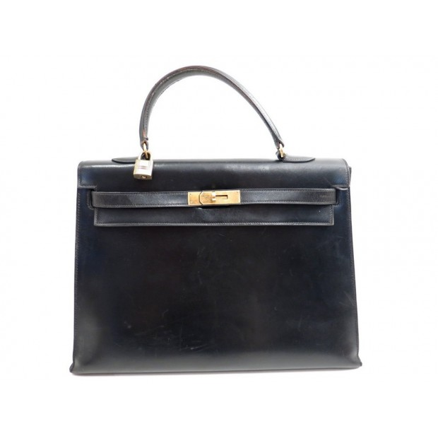 VINTAGE SAC A MAIN HERMES KELLY 35 CM EN CUIR BOX NOIR 1972 HAND BAG PURSE 7700€