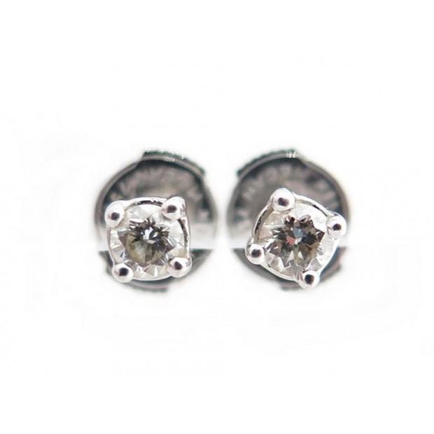 BOUCLES D'OREILLES PUCES EN OR BLANC 18K 1.1GR DIAMANT 0.2CT DIAMOND EARRINGS