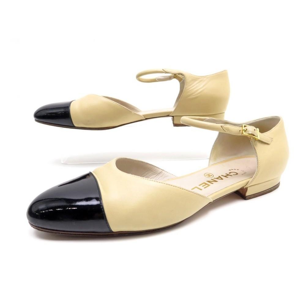 Chaussures Chanel Sandales A07946 38 En Cuir Beige