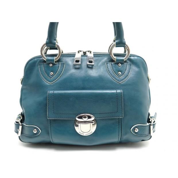 d6c757fcb3 sac a main marc jacobs 32 cm en cuir bleu canard