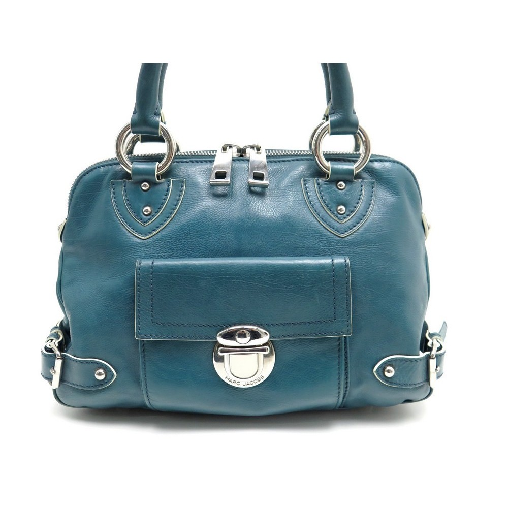 d773bc8827 SAC A MAIN MARC JACOBS 32 CM EN CUIR BLEU CANARD LEATHER HAND BAG PURSE  390. Loading zoom
