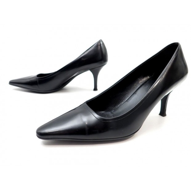 CHAUSSURES PRADA ESCARPINS 37.5 IT 38.5 FR EN CUIR NOIR + SAC BLACK SHOES 495€