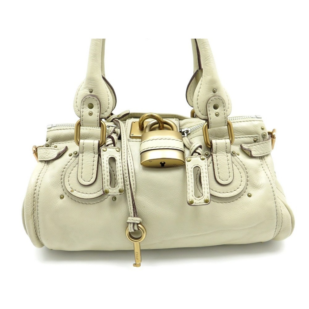 sac a main chloe paddington mm cadenas en cuir beige