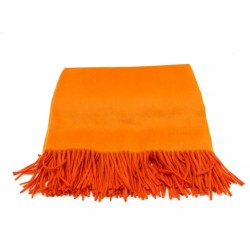 NEUF COUVERTURE HERMES PLAID A FRANGES 150X200CM CACHEMIRE ORANGE BLANKET 2320€