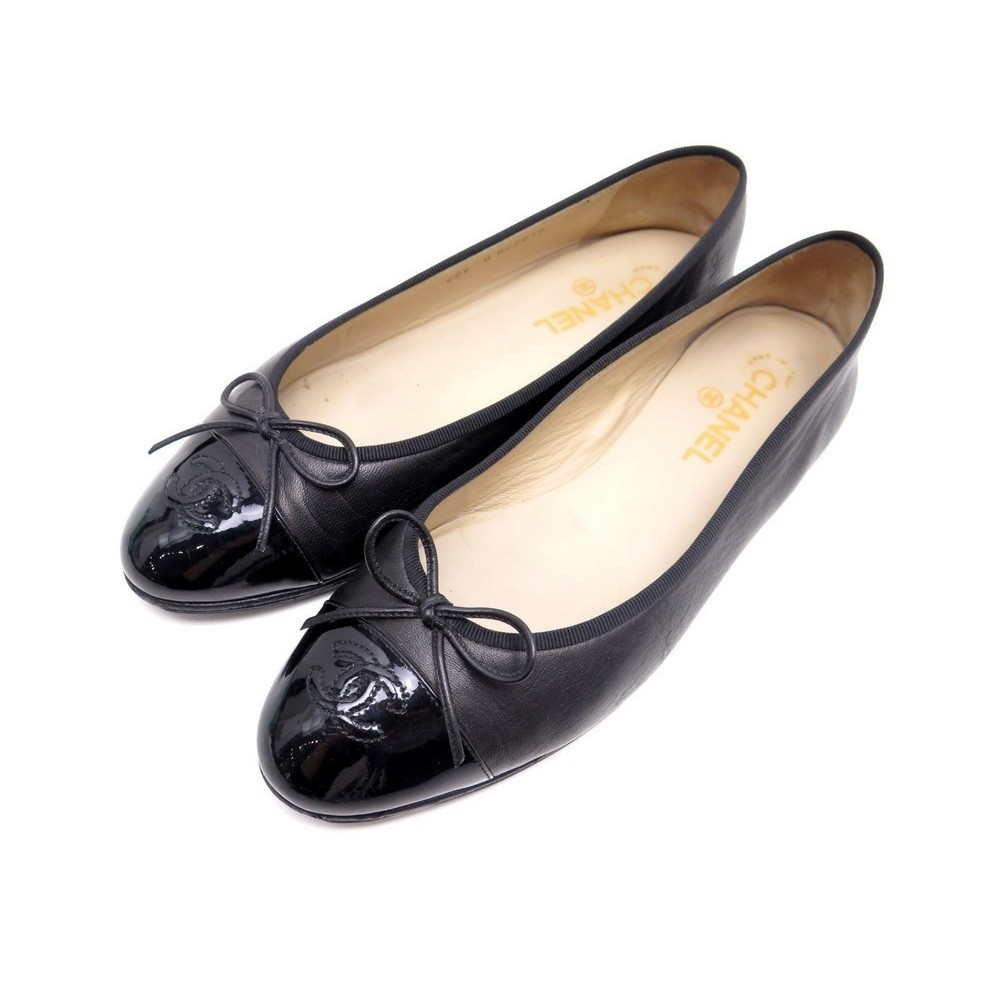 CHAUSSURES CHANEL A02819 40.5 BALLERINES EN CUIR NOIR BALLET FLAT SHOES  540€. Loading zoom 24534e6adb8