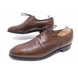 CHAUSSURES JOHN LOBB HOUSHTON DERBY 10E 44 CUIR PATINE MARRON SAC SHOES 1370€