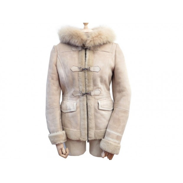MANTEAU MARELLA FEMME 38 M EN PEAU LAINE & FOURRURE BEIGE LEATHER SHEEPSKIN COAT