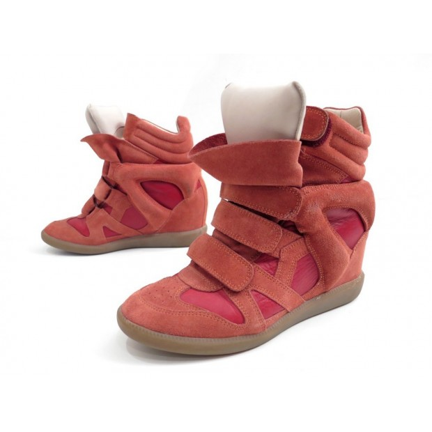 CHAUSSURES ISABEL MARANT BAZIL BASKETS MONTANTES 38 OCRE ROUGE OVER SHOES 395€