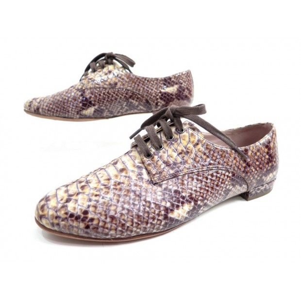 CHAUSSURES MIU MIU DERBY 37 IT 38 F CUIR FACON SERPENT PYTHON DERBIES SHOES 495€