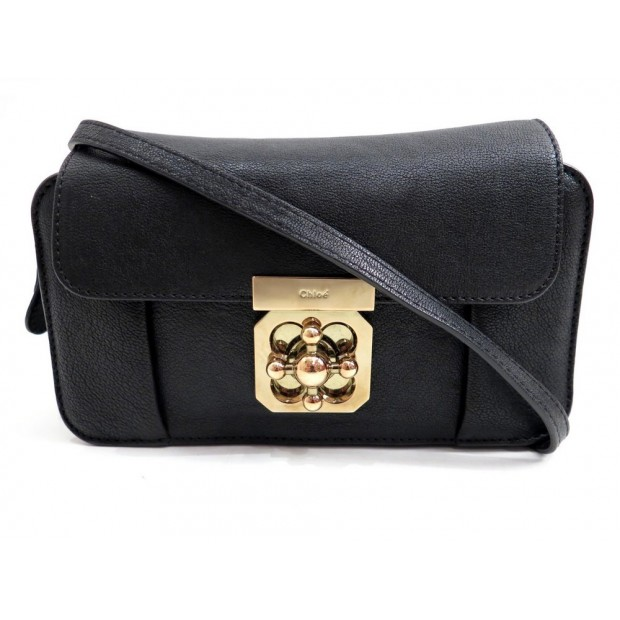 SAC A MAIN CHLOE ELSIE BANDOULIERE 20 CM CUIR NOIR LEATHER HAND BAG CLUTCH 995€