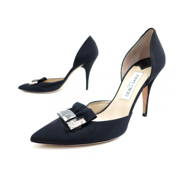 NEUF CHAUSSURES JIMMY CHOO 40 ESCARPINS EN SATIN NOIR BLACK COURT SHOES 750€