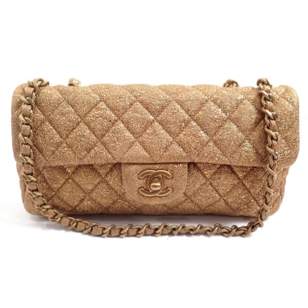 SAC A MAIN CHANEL TIMELESS 2.55 PM EN CUIR DORE GOLDEN HAND BAG PURSE 4260€