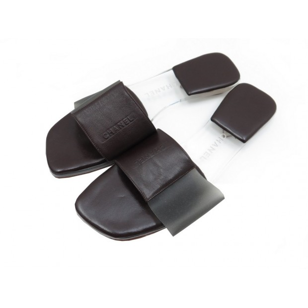 225caae5a356 chaussures sandales chanel mules 37 en cuir marron