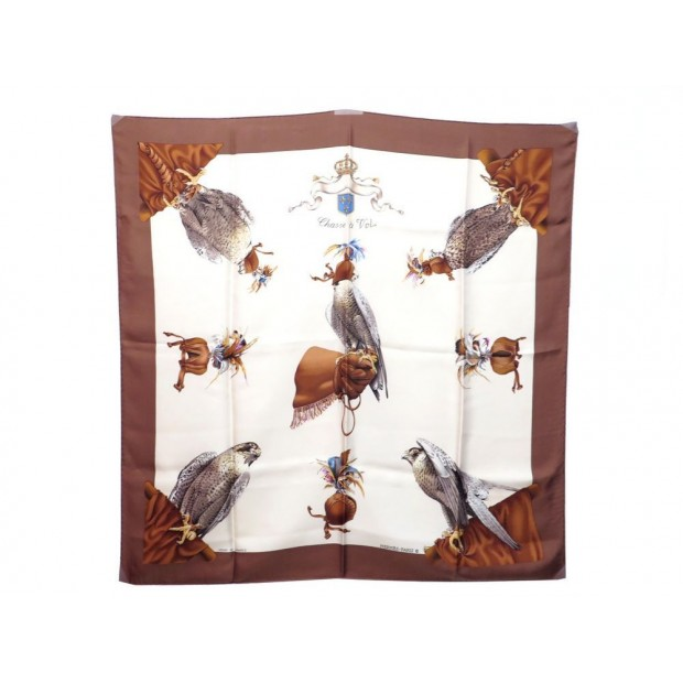 FOULARD HERMES CHASSE A VOL 1ERE EDITION 1962 LINARES CARRE SOIE SILK SCARF 345€
