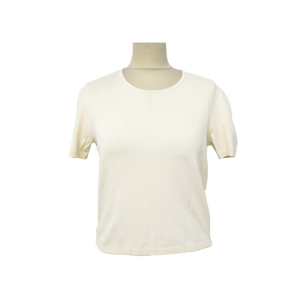 cf22ca33781 T-SHIRT MANCHES COURTES CHANEL M 40 HAUT FEMME EN VISCOSE BEIGE TOP 1500€.  Loading zoom