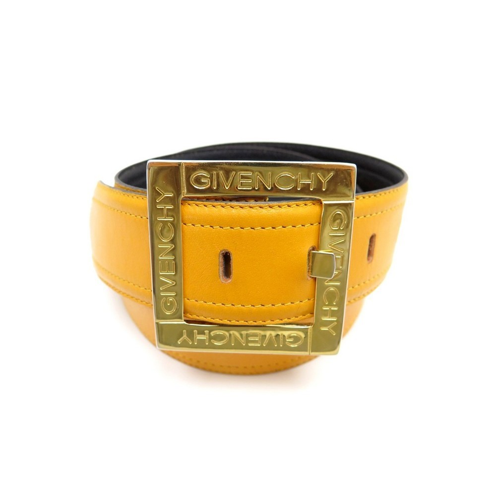 16b57c925f58 VINTAGE CEINTURE GIVENCHY T 75 CUIR JAUNE BOUCLE DORE YELLOW LEATHER BELT  370€. Loading zoom