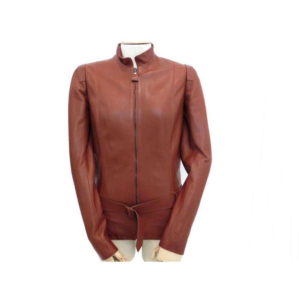 veste hermes femme 36 s blouson en cuir agneau marron 29bbf997e43