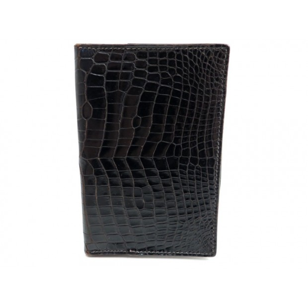 VINTAGE COUVERTURE D AGENDA SIMPLE GM HERMES CUIR CROCO NOIR LEATHER DIARY COVER