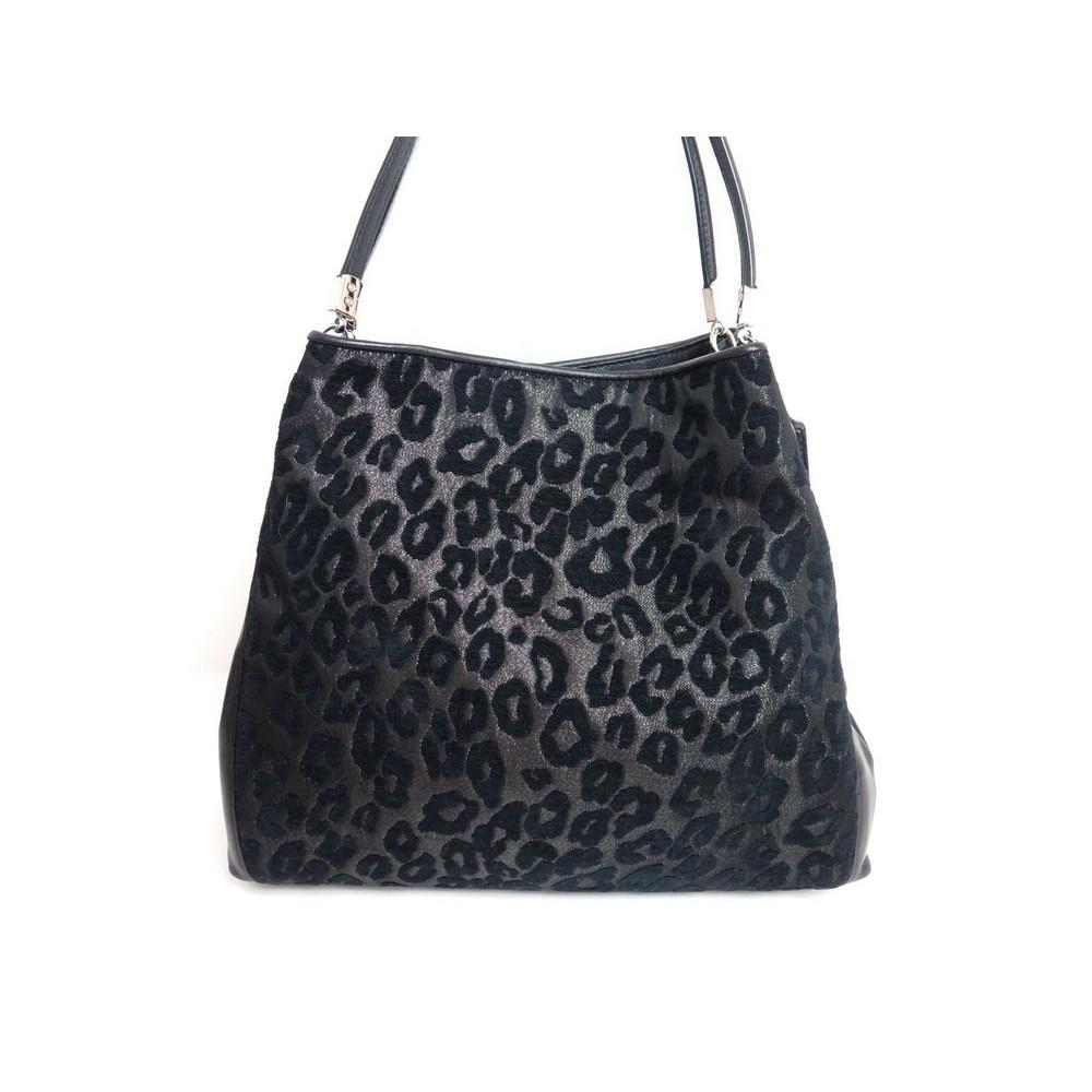 sac a main coach edie leopard cuir noir black. Black Bedroom Furniture Sets. Home Design Ideas