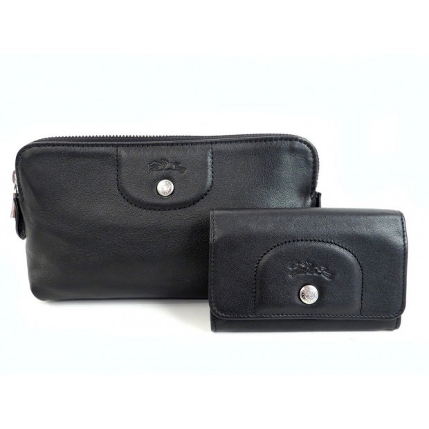 NEUF TROUSSE + PORTE MONNAIE LONGCHAMP LE PLIAGE CUIR NOIR LEATHER WALLET 225€