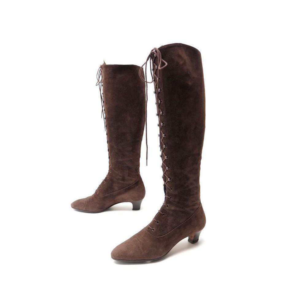 a bottes chaussures velours hermes 37 veau lacets daim 5AL43Rj
