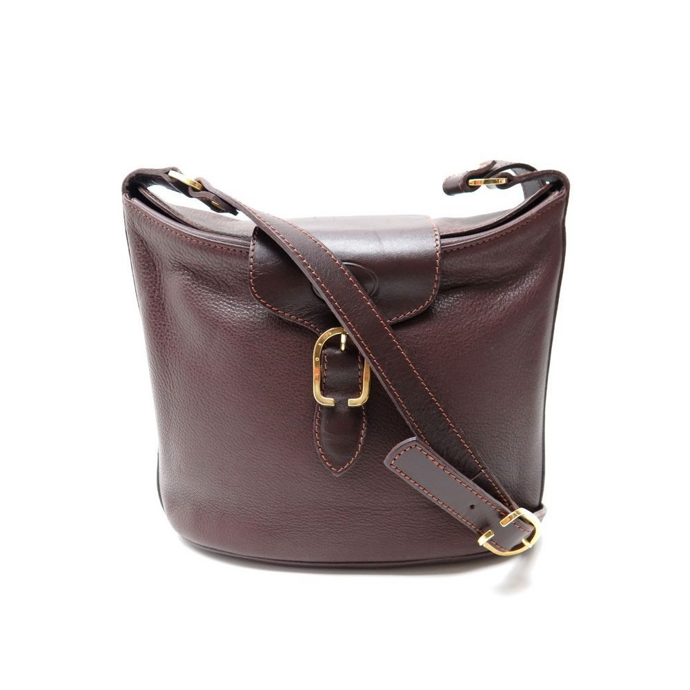 sac a main longchamp bandouliere cuir graine marron