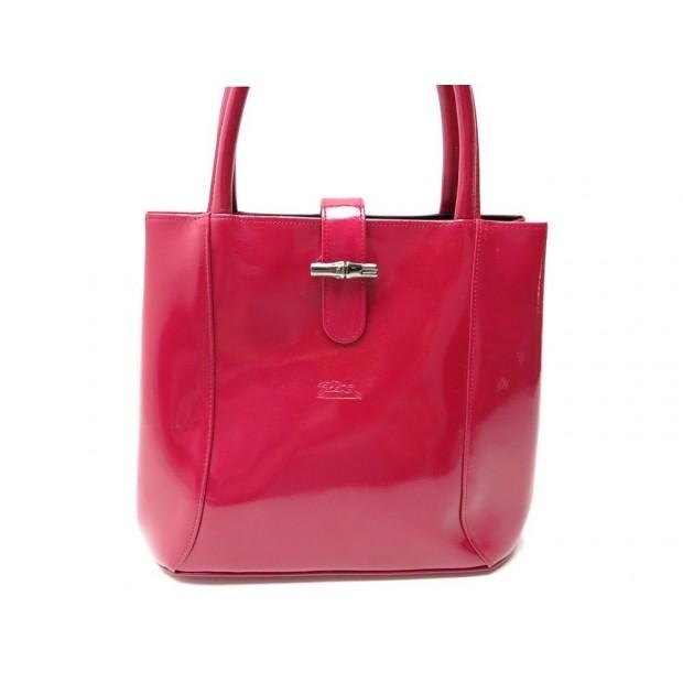 sac a main longchamp roseau cuir verni magenta