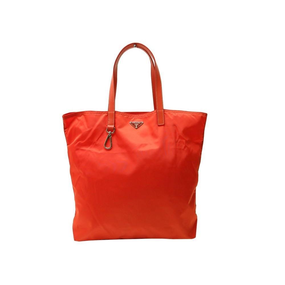 nouveau produit ad3d6 5048d sac a main prada cabas shopping bn1068 en toile orange