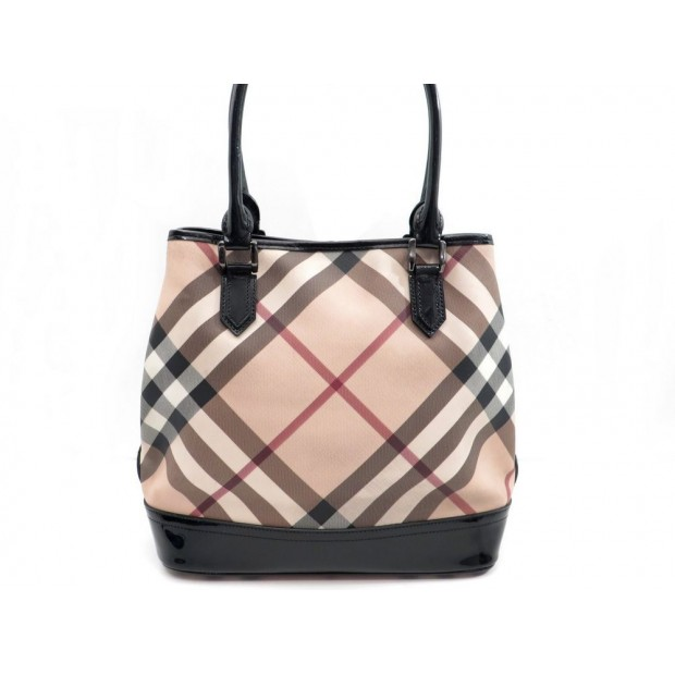 SAC A MAIN BURBERRY CABAS EN TOILE TARTAN BEIGE CANVAS HAND BAG PURSE 895€