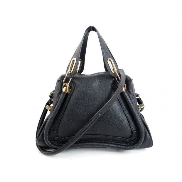 NEUF SAC A MAIN CHLOE PARATY 37 CM CUIR NOIR BLACK LEATHER HAND BAG PURSE 1400€