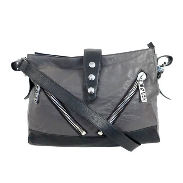 e7d0c08e11 sac a main kenzo besace bandouliere en cuir gris