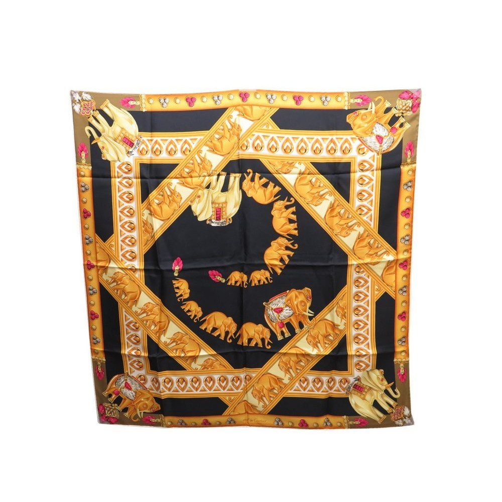 FOULARD MUST DE CARTIER CARRE EN SOIE NOIR   JAUNE BLACK YELLOW SILK SCARF  340€. Loading zoom d575463128d