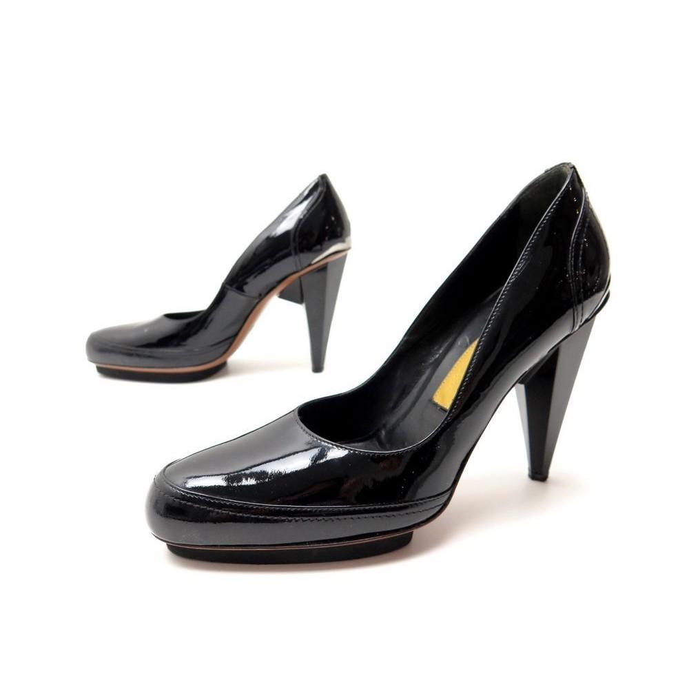 38 Lanvin Cuir Noir En Verni Chaussures Escarpins 8fwx5ASqq