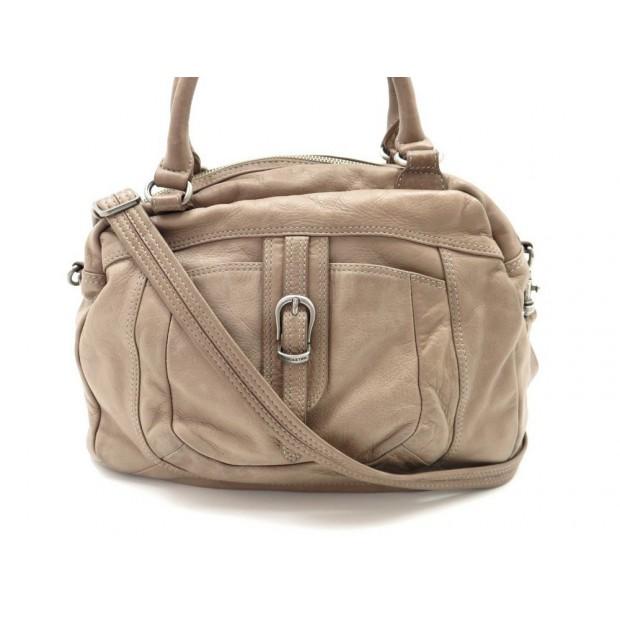 sac a main lancaster 36 cm en cuir marron bandouliere