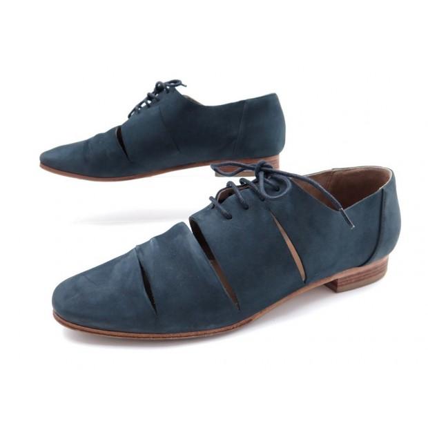 bleu en 37 daim imprevu richelieu chaussures hermes 5 qwf0xRa
