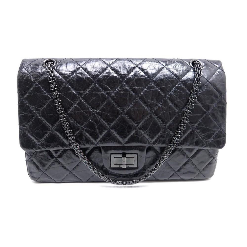 0dc63f6524c sac a main chanel 2.55 mademoiselle so black gm cuir