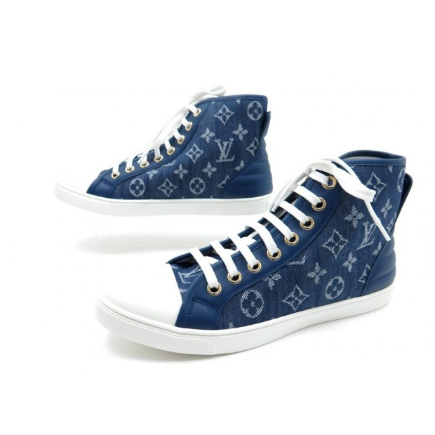 NEUF CHAUSSURES LOUIS VUITTON PUNCHY SNEAKERS 40 BASKETS TOILE DENIM BLEU  540€ 2f1e7854d6f