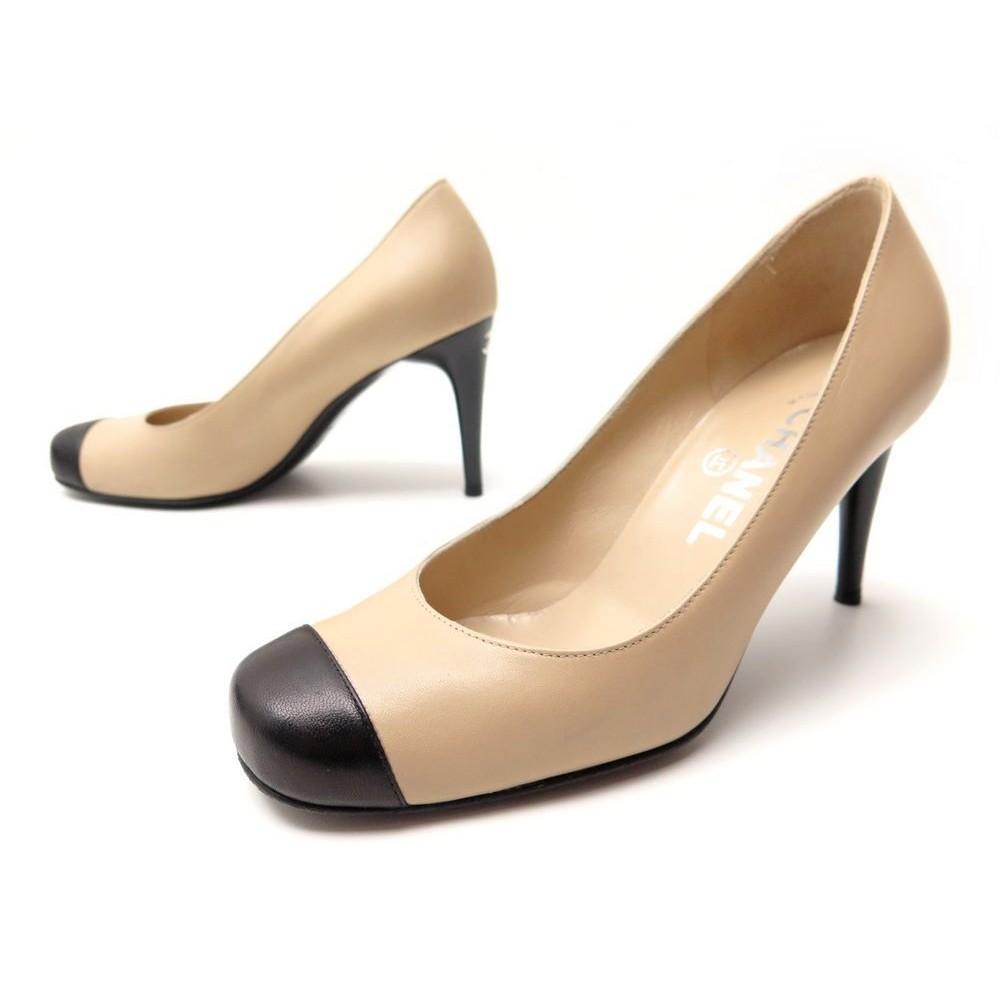Chaussures Chanel 36 Escarpins En Cuir Bicolore Beige