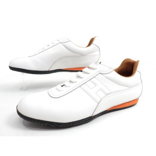 NEUF CHAUSSURES HERMES JUMP 40 BASKET FEMME CUIR BLANC WHITE SNEAKERS SHOES 710€