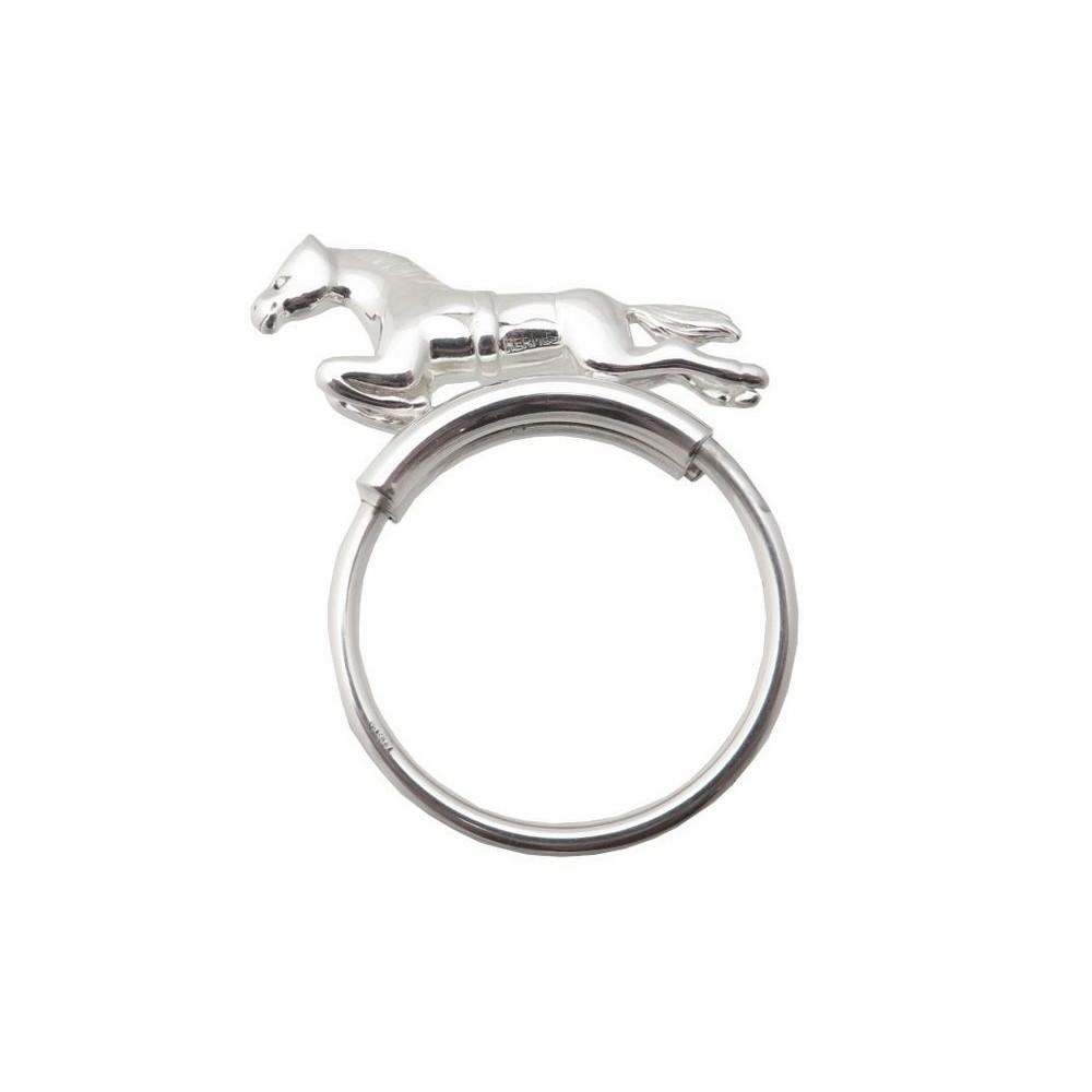 d557b58b1a VINTAGE PORTE-CLES HERMES CHEVAL ANNEAU ARGENT MASSIF HORSE SILVER HOLDER  KEYS. Loading zoom