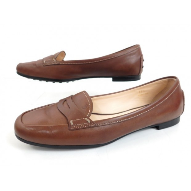 CHAUSSURES MOCASSINS TOD S 37.5 IT 38.5 FR CUIR MARRON BOITE LOAFERS SHOES 440€