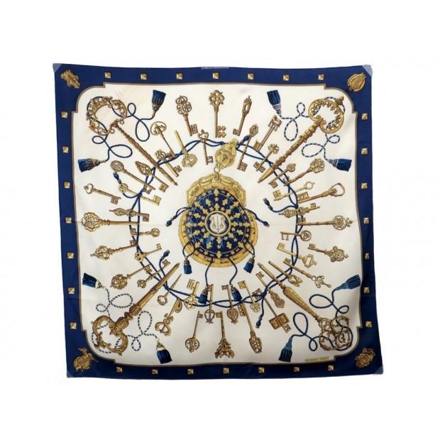 FOULARD HERMES LES CLES DE CATHY LATHAM EN SOIE BLEU FEMME BLUE SILK SCARF  345€ 1359d8e70e3