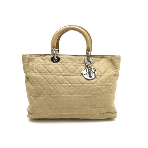 f532ed14c2582c sac a main christian dior dior lady en toile beige