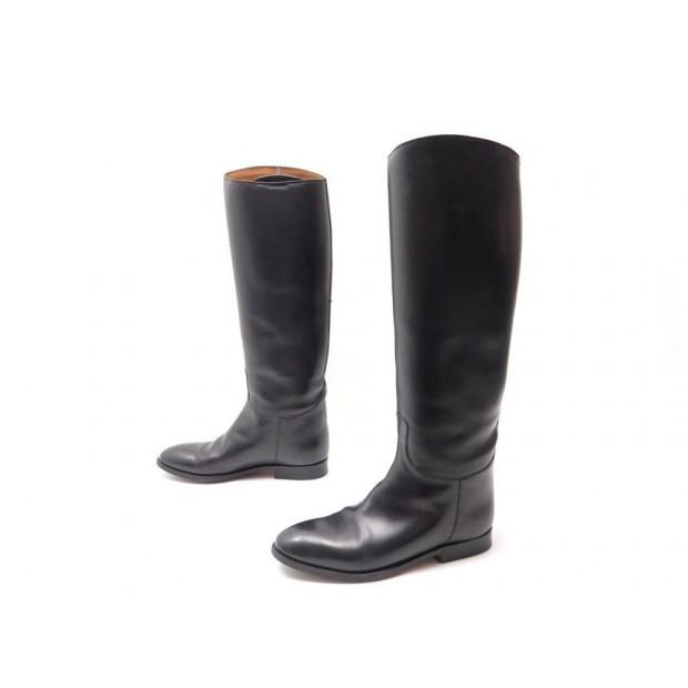 Super remise 100% authentique grande remise pour chaussures hermes 37.5 bottes cavalieres en cuir noir