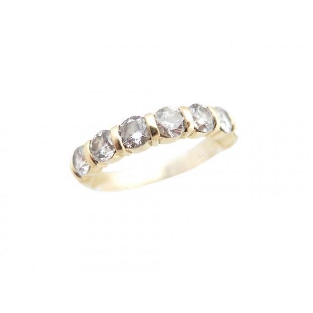 BAGUE EN OR JAUNE 3.4GR ET 7 DIAMANTS 1.1CT T 54 BIJOU GOLD DIAMONDS RING JEWEL