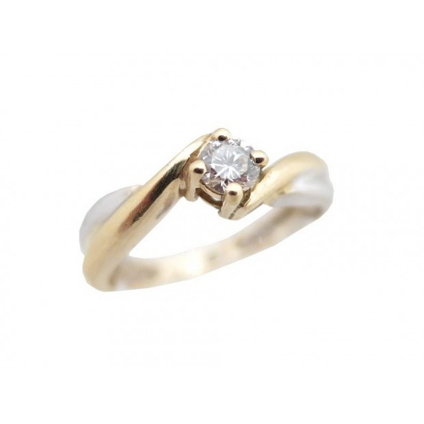 BAGUE SOLITAIRE T 54 EN OR JAUNE & BLANC 4 GR & DIAMANT 0.2CT GOLD DIAMOND RING
