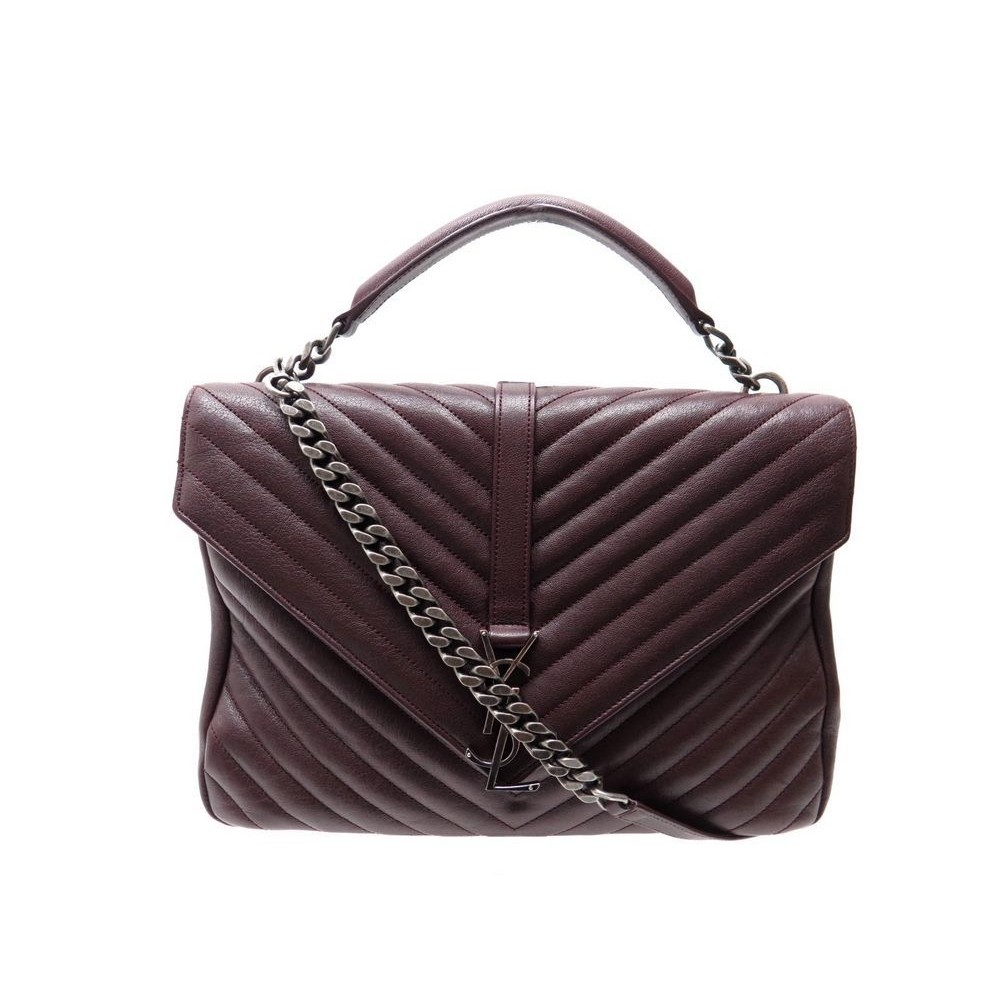 09630cf85e NEUF SAC A MAIN SAINT LAURENT GRAND COLLEGE 392738 EN CUIR BORDEAUX BAG  1990€. Loading zoom